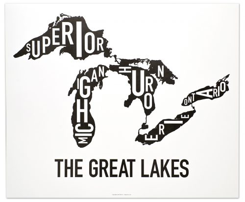 """Great Lakes """"Classic Black & White"""" Poster"""