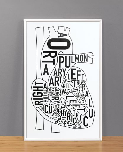 "The Heart Anatomy Art Poster, Classic B&W, 11"" x 17"""