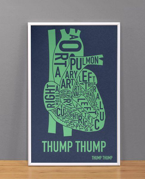 "The Heart Anatomy Art Screenprint, Navy & Lime, 11"" x 17"""