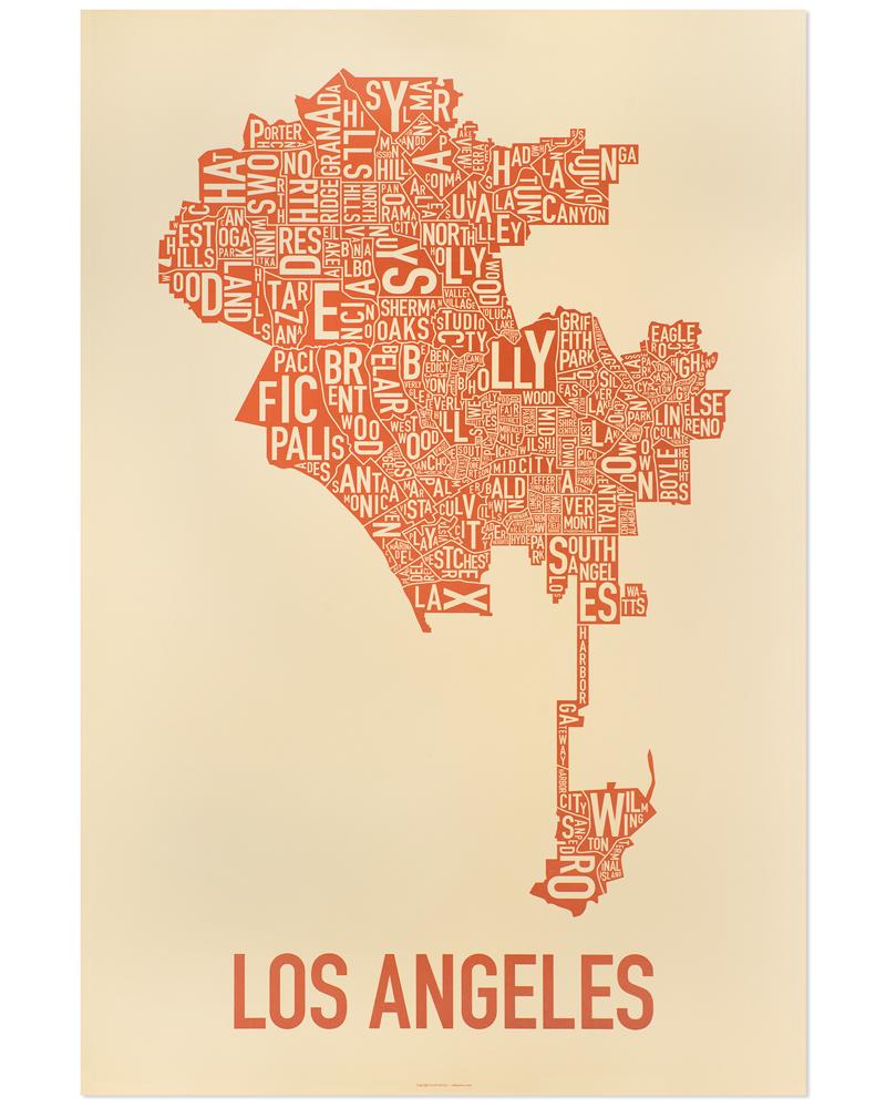 Los Angeles Neighborhood Map 24quot X 36quot Orange On The Beach