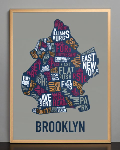 "Framed Brooklyn Neighborhood Typography Map, Multi-Color, 18"" x 24"" in Bronze Frame"