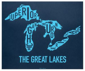 Great Lakes Typographic Map - Original Artwork by Ork Posters