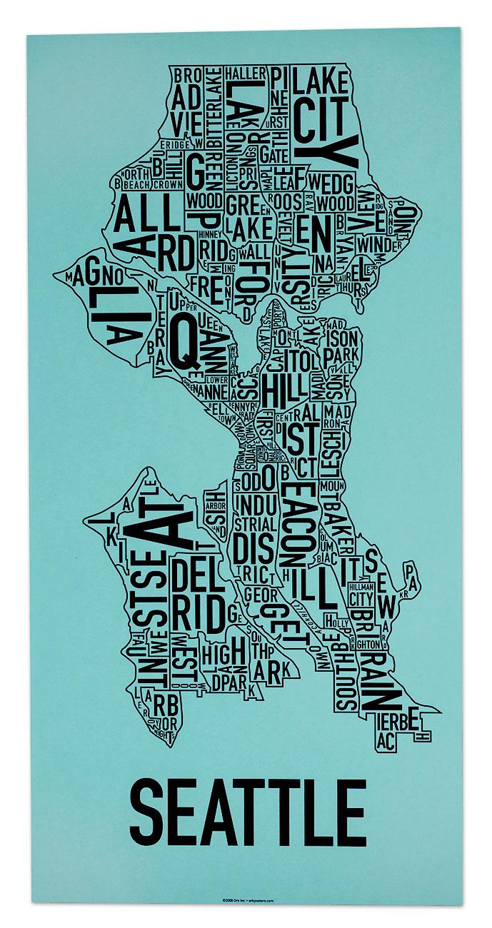 Seattle Neighborhood Map 13 x 26 Rainy Day Blue Screenprint