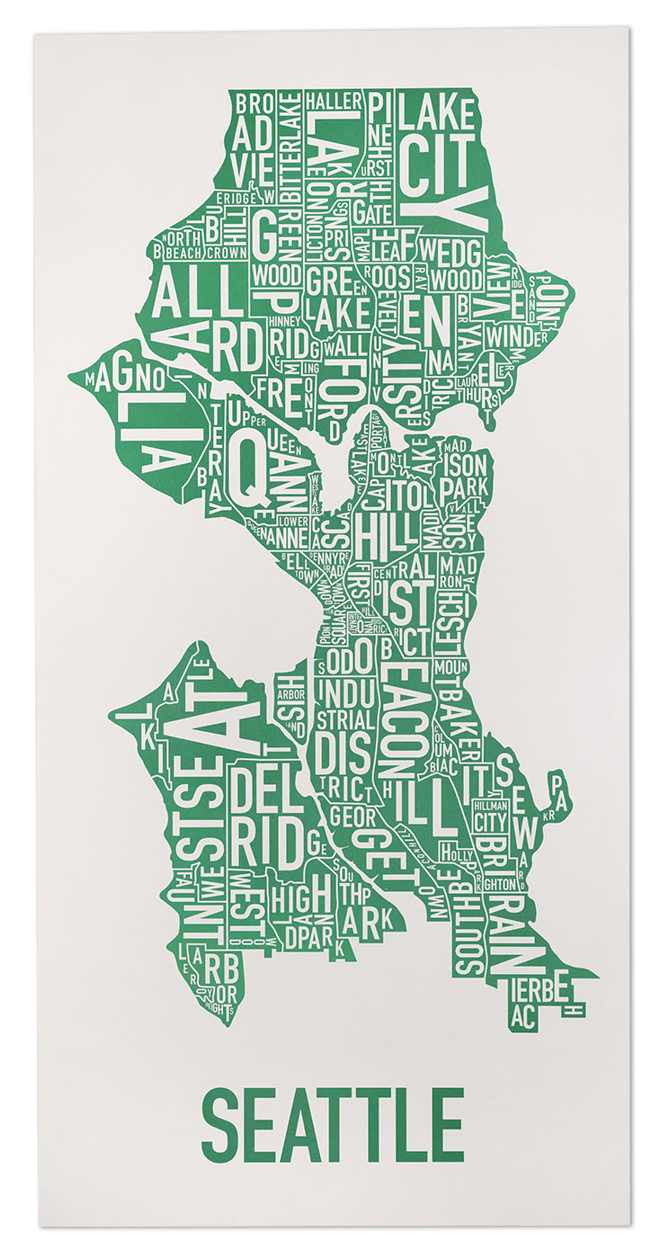 Seattle Neighborhood Map 16 x 32 Emerald City Green Poster