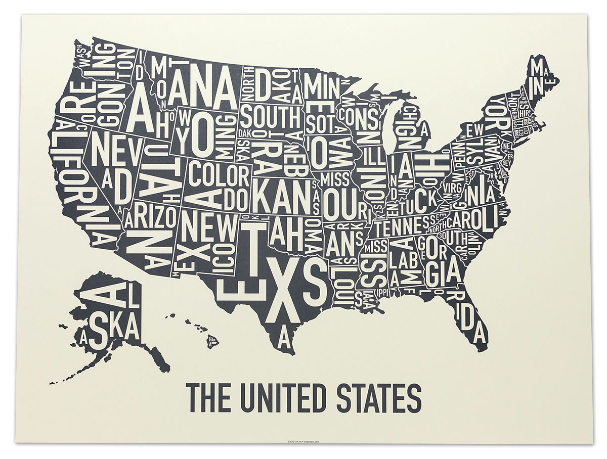 United States Map X Amber Waves Of Grey Poster - States map of the united states