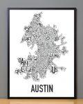 Austin Map in Black Frame