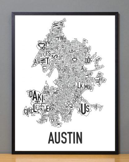 "Framed Austin Neighborhood Map Poster, 18"" x 24"", Classic B&W in Black Frame"