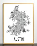 Austin Map in Bronze Frame