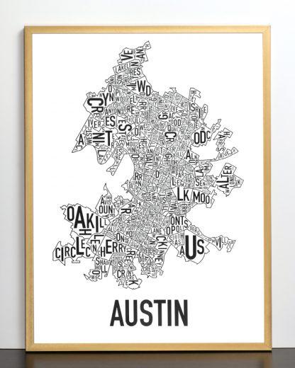 "Framed Austin Neighborhood Map Poster, 18"" x 24"", Classic B&W in Bronze Frame"