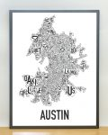 Austin Map in Grey Frame