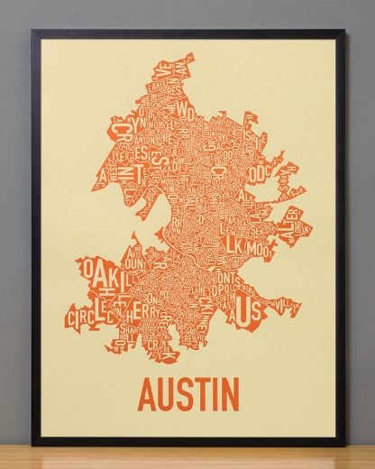 "Framed Austin Neighborhood Map Poster, 18"" x 24"", Tan & Orange in Black Frame"