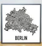 Berlin Map in Steel Grey Frame