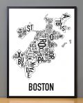 Boston Map in Black Frame