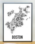 Boston Map in Grey Frame