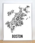 Boston Map in Silver Frame