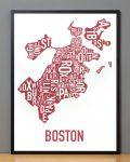 Boston Map in Black Frame