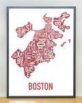 Boston Map in Grey Frame