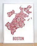 Boston Map in Silver Frame