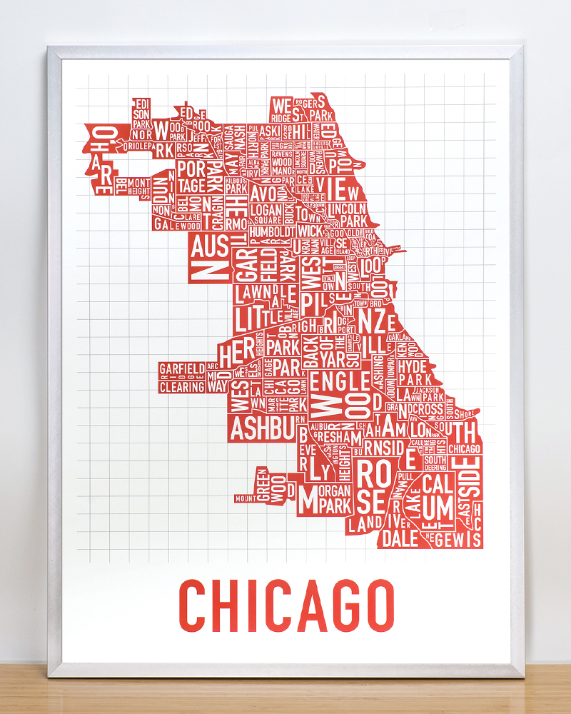 Chicago Neighborhood Map 18 x 24 Spicy Red Poster
