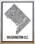 Washington DC Map in Black Frame