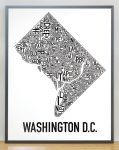 Washington DC Map in Grey Frame