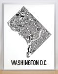 Washington DC Map in Silver Frame