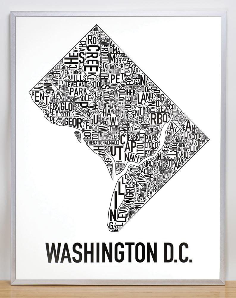 Washington DC Neighborhood Map  X  Classic Black  White Poster - Washington dc map by neighborhood