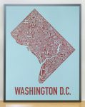 Washington DC Map in Grey Frame