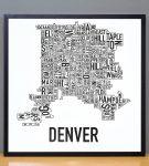 Denver Map in Black Frame