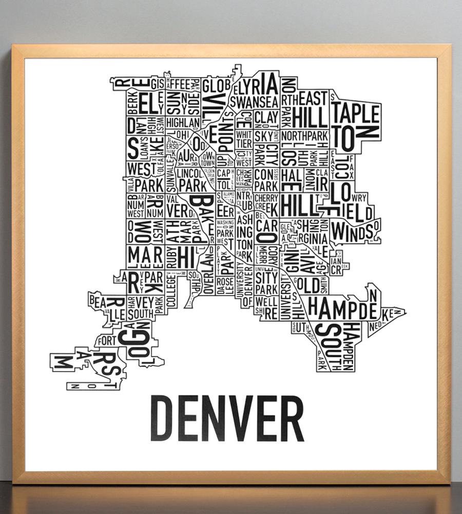 """Denver Neighborhood Map 18"""" X 18"""" Classic Black & White Poster"""
