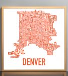 Denver Map in Bronze Frame
