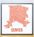 Denver Map in Grey Frame