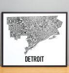 Detroit Map in Black Frame