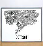 Detroit Map in Grey Frame