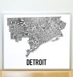 Detroit Map in Silver Frame