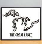 Great Lakes Map in Black Frame