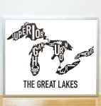 Great Lakes Map in Silver Frame