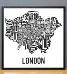 Greater London Map in Black Frame