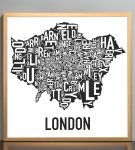 Greater London Map in Bronze Frame