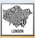 Greater London Map in Grey Frame