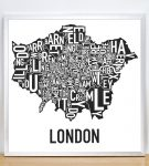 Greater London Map in Silver Frame
