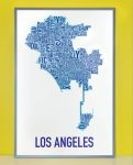 Los Angeles Map in Grey Frame