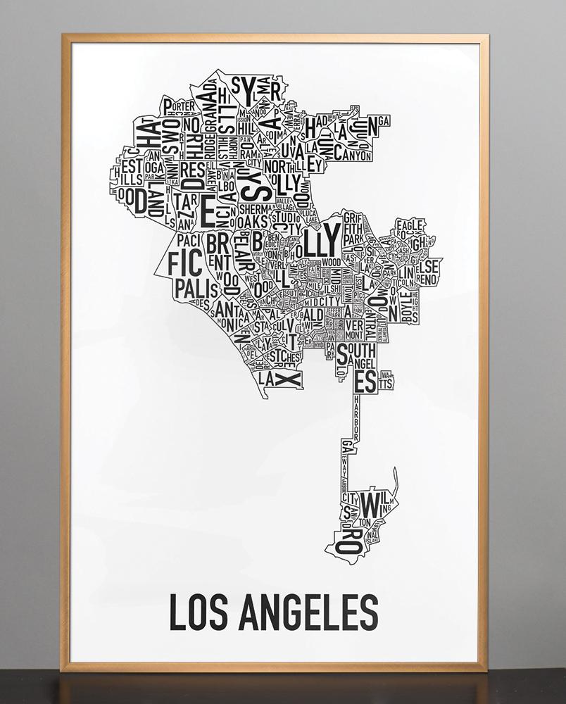 Los Angeles Neighborhood Map  X  Classic Black  White Poster - Los angeles poster black and white