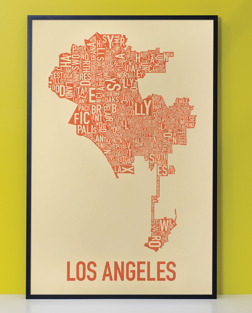 los angeles neighborhood map 24 x 36 orange on the beach poster