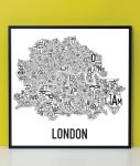 London Map in Black Frame