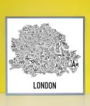 London Map in Grey Frame