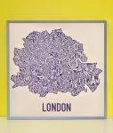 London Map in Grey Frame