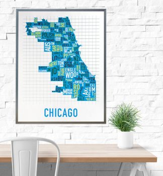 Chicago Neighborhood Map Poster