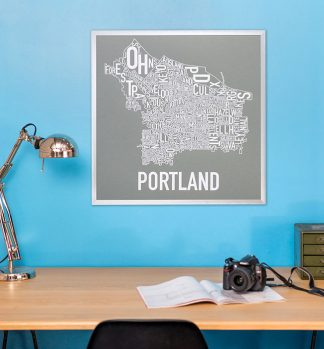 Portland Neighborhood Map Poster