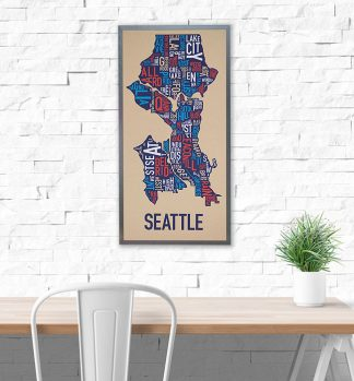Seattle Typographic Neighborhood Map Art